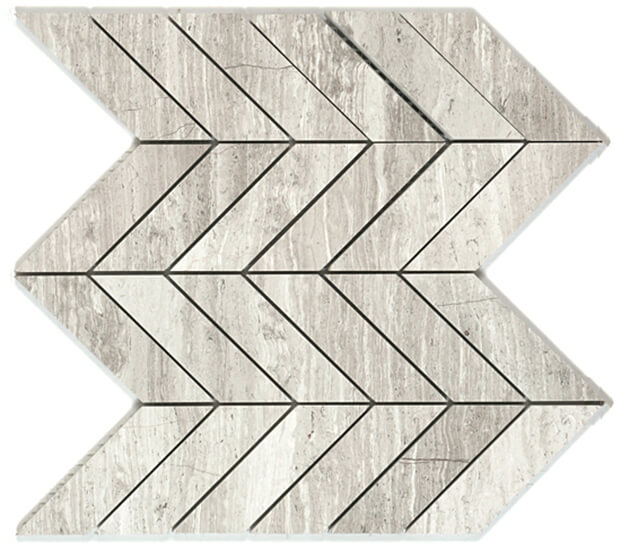Bianco Wood Chevron Mosaic by Lexco Tile and Stone.