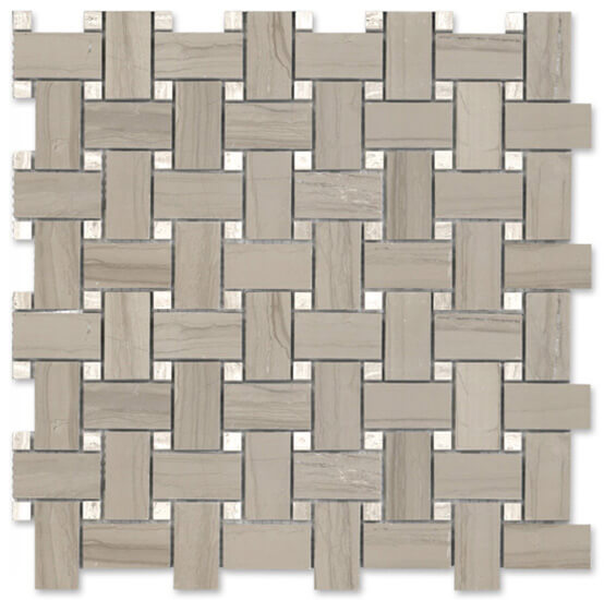 Athens Gris Polished Marble Basketweave Mosaic by Lexco Tile and Stone.